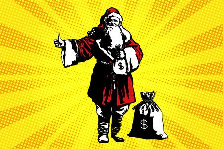 돈 가방이 든 산타 클로스