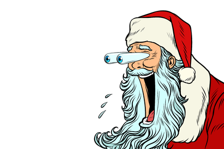 Santa Claus with bulging eyes, a surprise reaction
