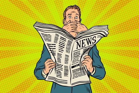 新聞、読者の反応で悪いニュース  イラスト・ベクター素材