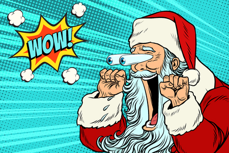Wow Santa Claus Christmas character emotional reaction