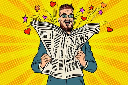 Gelukkige hipster leest het krantennieuws