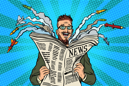 流行に敏感な幸せな軍事ニュース紙の新聞。核戦争。ポップアートのレトロなベクトル図