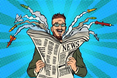 Hipster 행복한 군사 뉴스 용지 신문입니다. 핵전쟁. 팝 아트 복고풍 벡터 일러스트 레이션