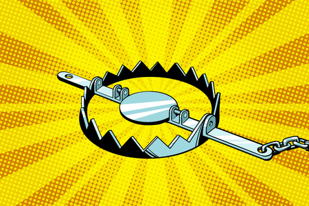 Metal hunting trap. Pop art retro vector illustration