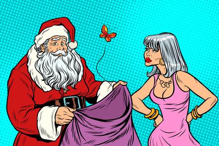 Santa Claus zonder geschenken en boze vrouw. Nieuwjaar en Kerstmis. Pop art retro vectorillustratie