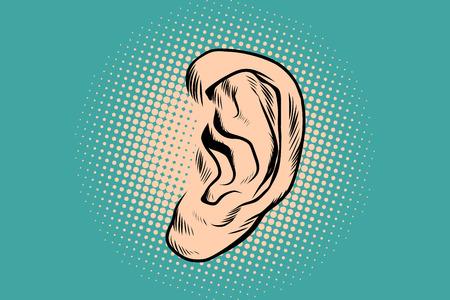 男性の人間の耳。ポップアートのレトロなベクトル図