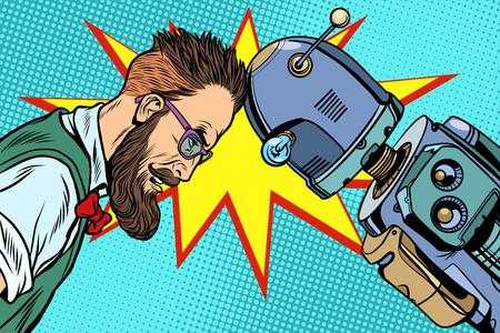 로봇과 인간, 인류 및 기술. 팝 아트 레트로 벡터 빈티지 일러스트 일러스트