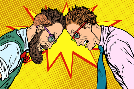 Hipster against officious businessman. Pop art retro vector vintage illustrations