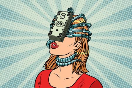 The money parasites, women and financial dependence. Pop art retro vector vintage illustrations