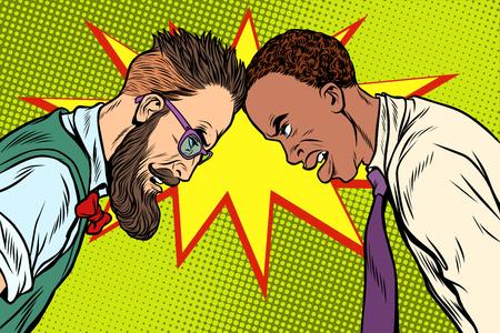Blanc contre noir, intolérance raciale. Politique et nouvelles Illustrations vintage de vecteur rétro pop art Vecteurs