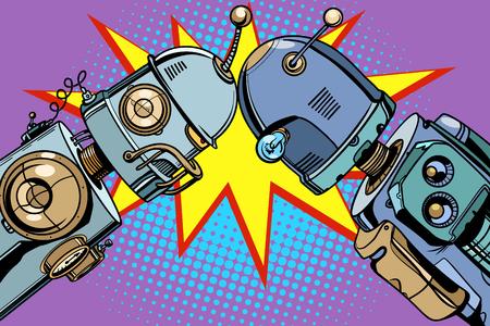 오래 된 로봇 대 새로운. 팝 아트 레트로 벡터 빈티지 일러스트 일러스트