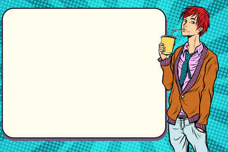 Fashionable hipster young man drinking a beverage, manga anime style. Pop art retro vector vintage illustrations