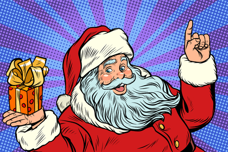 Santa Claus with Christmas gift box. New year and Christmas. Pop art retro vector illustration