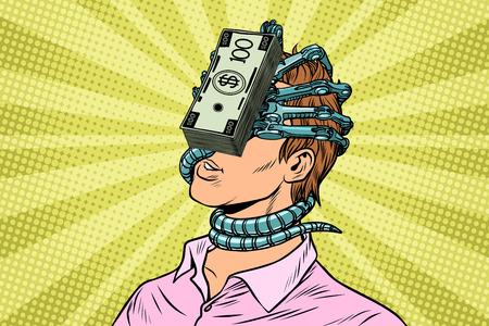 Dependencia financiera, un hombre con parásito del dinero en la cara. Ilustraciones vintage de arte retro pop art Foto de archivo - 87049659