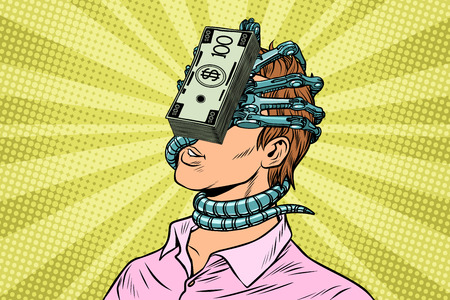 Financiële afhankelijkheid, een man met geldparasiet op het gezicht. Pop-art retro vector vintage illustraties