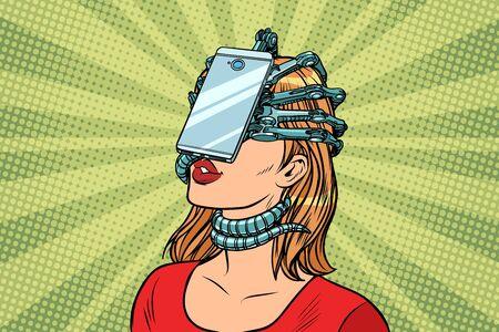 gezicht id-smartphone parasiet, vrouw en internetverslaving. Pop-art retro vector vintage illustraties Stockfoto