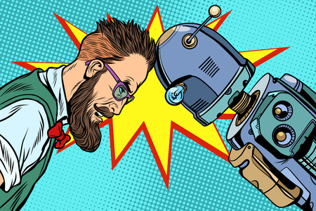 Robot versus mens, menselijkheid en technologie. Pop-art retro vector vintage illustraties Stockfoto