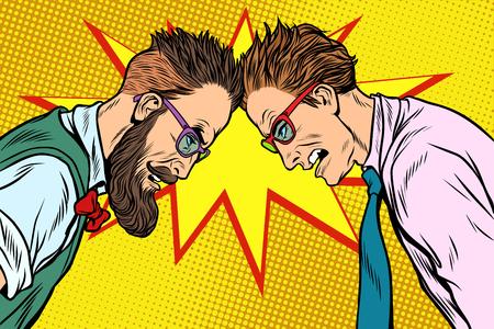 Hipster against officious businessman. Pop art retro vector vintage illustrations
