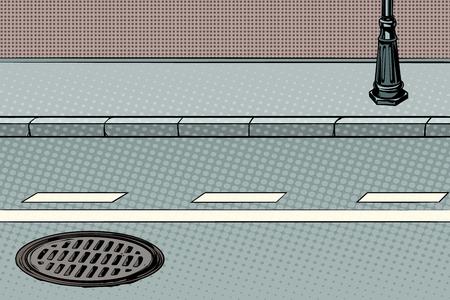 City street with sidewalk and manhole. Pop art retro vector illustration Stock Illustration - 87250108