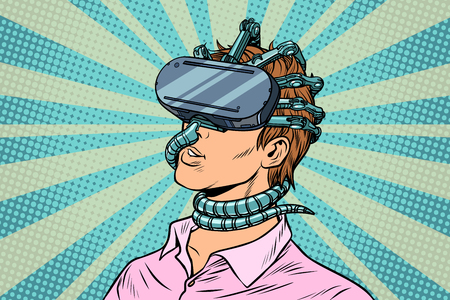young man in a virtual reality, gadget parasite. Pop art retro vector vintage illustrations Stock Illustration - 87302729