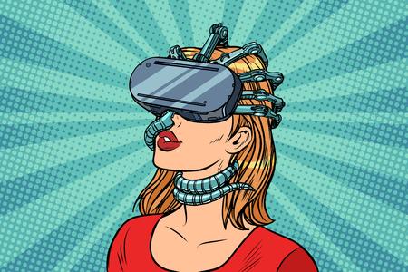 Pop art woman in virtual reality gadget parasite. retro vector vintage illustrations