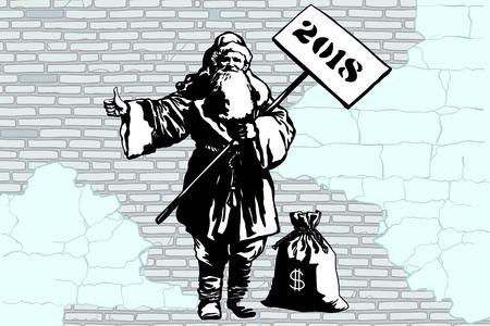 2018 새해 돈, 낙서 스타일의 가방 산타 클로스 hitchhiker. 새 해와 크리스마스입니다. 팝 아트 복고풍 벡터 일러스트 레이 션. 오래 된 도시 벽돌 벽 배경