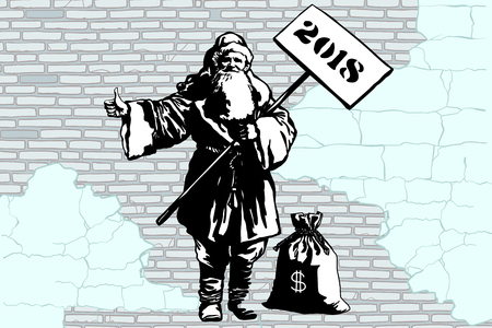2018 new year Santa Claus hitchhiker with a bag of money, graffiti style. New year and Christmas. Pop art retro vector illustration. Old city brick wall background. Stock Illustration - 87250109