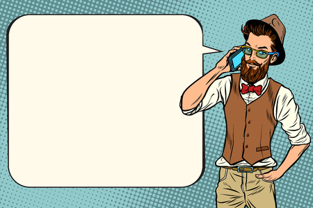Hipster man with a smartphone. Pop art retro vector vintage illustrations