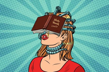 religieuze fanatieke vrouw. Pop-art retro vector vintage illustraties