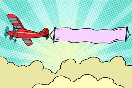 Retro airplane with a ribbon in the sky Illustration