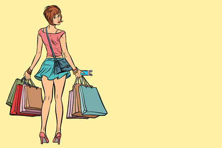 Young woman with shopping bags on sale
