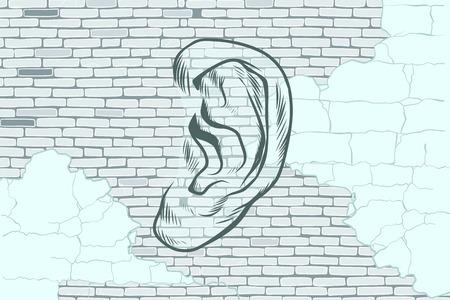 背景の古い壁に耳落書きタトゥー シルエット  イラスト・ベクター素材