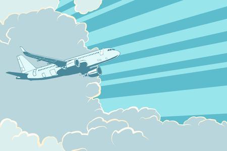 avión retro volando en las nubes aéreos de fondo aérea Ilustración de vector