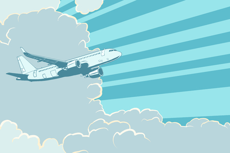 Retro airplane flying in the clouds. Air travel background Vektorové ilustrace
