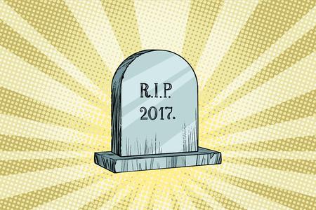 Het einde van 2017, grafsteen met de inscriptie