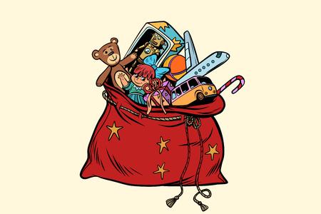 Santa sack with Christmas gifts and toys 向量圖像