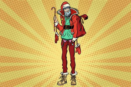 流行に敏感なサンタ クロース クリスマス ギフト バッグ  イラスト・ベクター素材