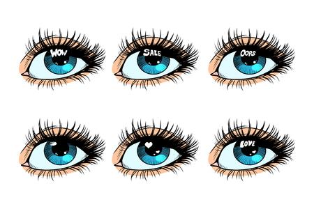Female eye set glare in the pupil. Pop art retro vector illustration
