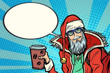 コーヒーと流行に敏感なサンタ クロースは言います。クリスマスと新年。ポップアートのレトロなベクトル図  イラスト・ベクター素材