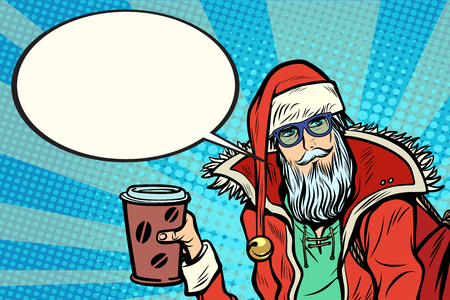 Hipster Santa Claus with coffee says. Christmas holiday and New year. Pop art retro vector illustration