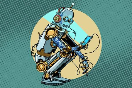 The robot sits and reads smartphone. New technologies, progress. Pop art retro vector vintage illustrations Vettoriali