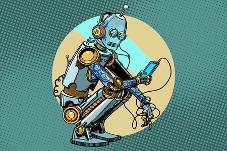 The robot sits and reads smartphone. New technologies, progress. Pop art retro vector vintage illustrations Иллюстрация