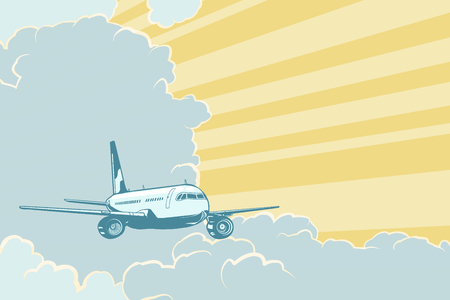 Retro airplane flying in the clouds. Air travel background. Pop art retro vector illustration