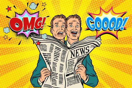 Goed en slecht nieuwsbericht, de reactie van mannen. Pop-art retro vector illustratie Stock Illustratie