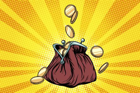 Monedero con monedas de oro. Ilustración de vector retro pop art Foto de archivo - 87917399