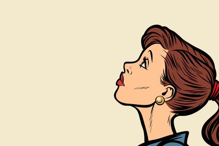 クローズ アップの女性の顔の輪郭。ポップアートのレトロなベクトル図