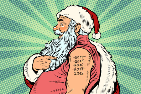 Santa Claus with tattoos 2018. New year and Christmas. Pop art retro vector Illustrator