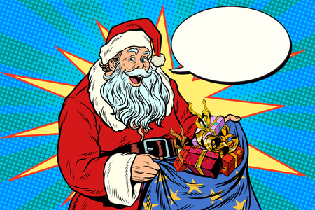 Joyful Santa Claus with bag of Christmas gifts. Pop art retro vector illustration