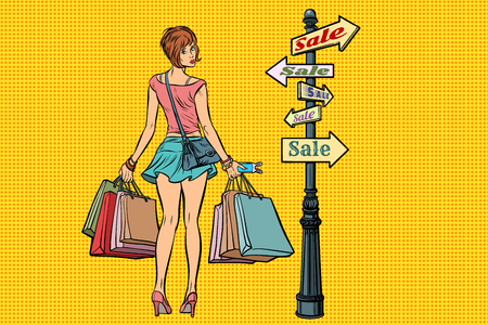 Young woman at the sign for sales Stock Vector - 88285569