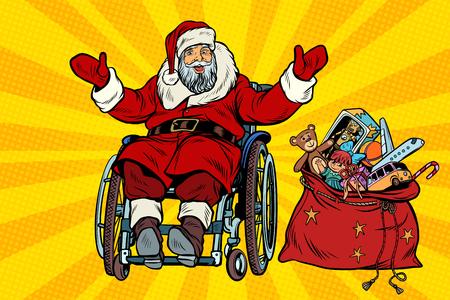 Discapacitado Santa Claus está en una silla de ruedas con regalos de Navidad